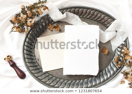 Blank Invitation with envelop on silver tray Stock photo © gregory21