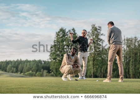 Stockfoto: Man · spelen · golf · hemel · zon · natuur