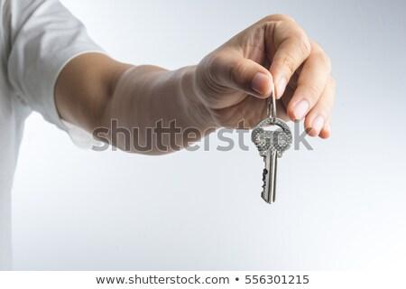 emberi · kéz · kulcsok · fehér · üzlet · otthon · piac - stock fotó © inxti