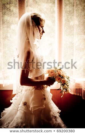 Portret mooie jonge bruid wachten auto Stockfoto © lightpoet