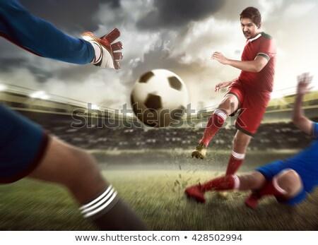 Adam ayakta ayak futbol topu geri Stok fotoğraf © jacojvr
