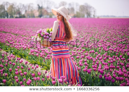 Stock foto: Girl With Bouquet Of Colorful Dutch Tulips
