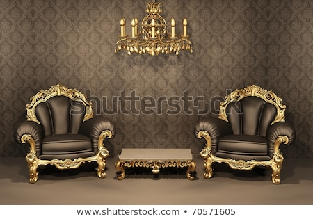 Stock photo: Royal interior. Golden chandelier with luxurious armchairs on bl