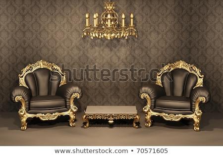 Királyi belső arany csillár fényűző fekete Stock fotó © Victoria_Andreas