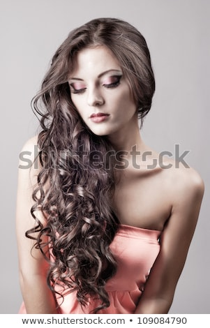 bright purple eye evening make up beautiful woman portrait stock photo © elmiko
