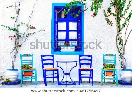 Grieks tabel stoelen Blauw Stockfoto © timwege