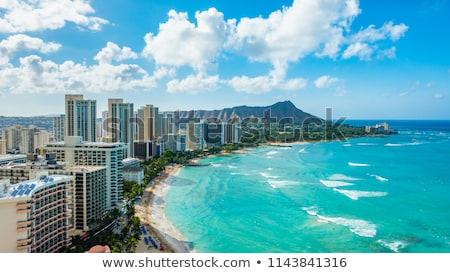 Panoráma gyémánt fej Waikiki panorámakép lövés Stock fotó © pixelsnap