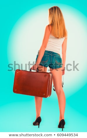 blonde girl hitchhiker Stock photo © zastavkin