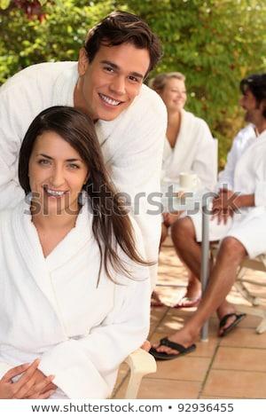 Sessão terraço amigos paisagem casal Foto stock © photography33