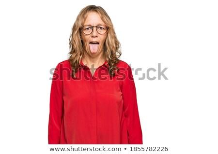Blond wearing red lip-stick Stock photo © photography33