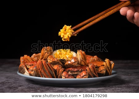 Haarig Krabbe chinesisch grünen Shell Meeresfrüchte Stock foto © bbbar