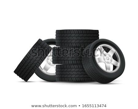Carro pneus quatro roda velho Foto stock © stevanovicigor