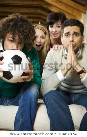 futebol · fãs · vermelho · sofá · mulher - foto stock © photography33