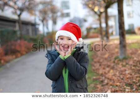 happy smiling school boy in santa hat stock photo © annakazimir