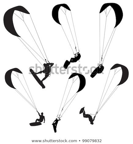 silhueta · voador · acima · água · pôr · do · sol · céu - foto stock © acidgrey