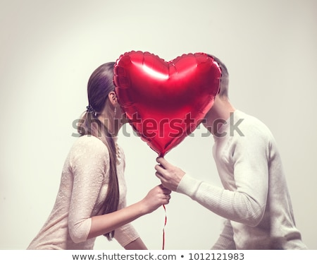 Foto stock: Dia · dos · namorados · belo · feliz · mulher · vermelho · coração