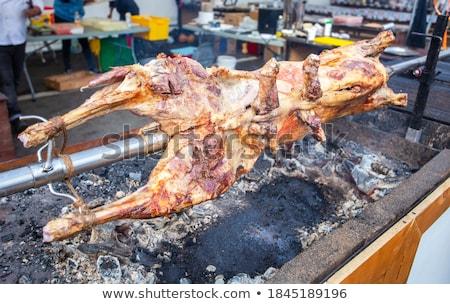 Baran pluć grill kucharz płomień christmas Zdjęcia stock © pixachi