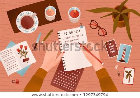 Cartoon Hand - Writing - Vector Illustration stock photo © indiwarm