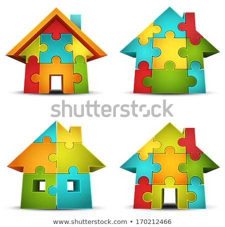 Red Puzzle Home vector stock photo © krabata