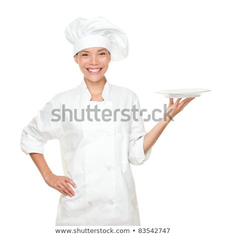 Mujer chef uniforme vacío placa Foto stock © wavebreak_media