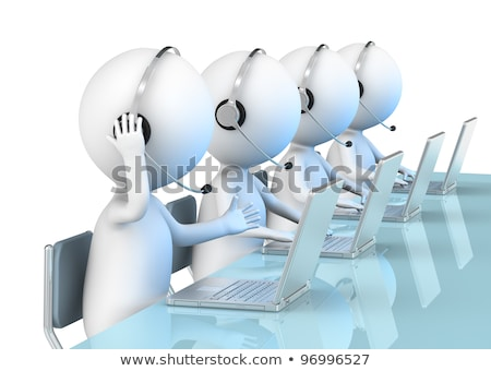 customer support 3d little human character with a headsets and stock photo © dacasdo