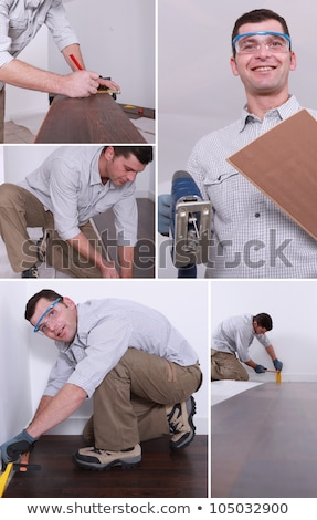 Montage of a man putting down a wooden floor Stock photo © photography33