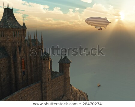fantasy castle and flying zeppelin stock photo © mike_kiev