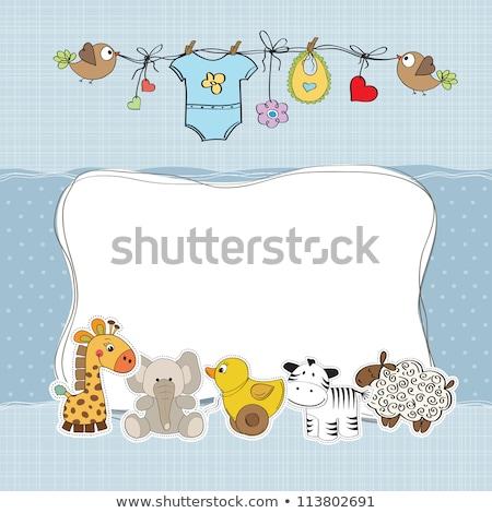 childish baby shower card with hippo toy Stock photo © balasoiu
