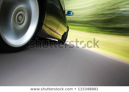 rear side view of a sport car in blurred motion stock photo © redpixel