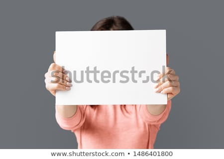 Woman Covering Her Face With Blank card Stock photo © pxhidalgo