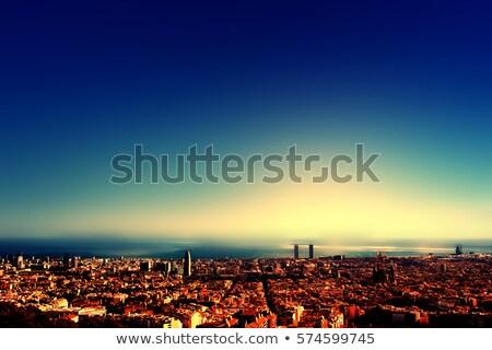 Belo pôr do sol museu Barcelona Espanha azul Foto stock © artjazz