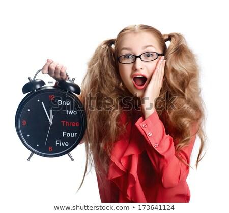 Gyönyörű lány szemüveg nagy óra pánik mosoly Stock fotó © fotoatelie