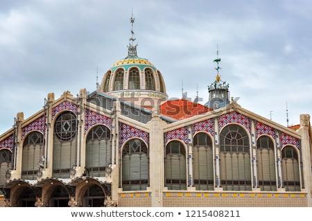 Valencia Mercado Central market facade in spain Stock photo © lunamarina