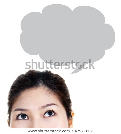 close up of young woman looking up for thought bubble above her stock photo © hasloo