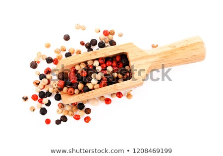Pepper seasoning  mix in wooden spoon isolated on white backgrou Stock photo © natika