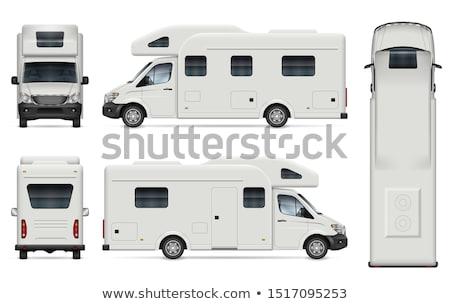 Caravan venster mannen beker van Stockfoto © zzve