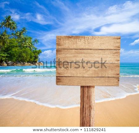 Trópusi tengerpart pálmafák felirat felhők tenger hullámok Stock fotó © LoopAll