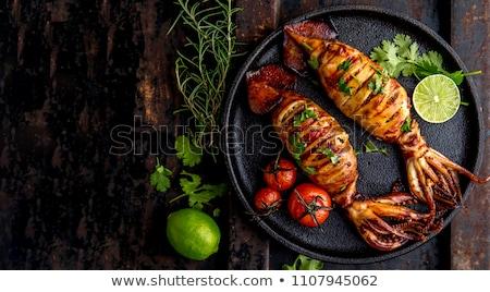 Stock fotó: Grillezett · tintahal · edény · étel · természet · fény