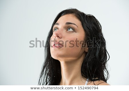 Water stopped while young woman was showering. Plumbing damage Stock photo © HASLOO