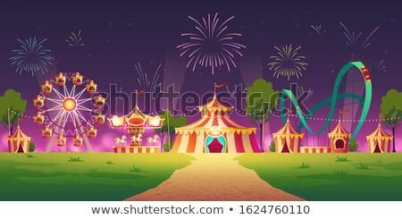 cirkusz · illusztráció · rajz · kék · ég · nyár · zászló - stock fotó © lenm
