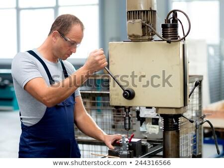 mannelijke · ingenieur · boor · fabriek · man · leren - stockfoto © HighwayStarz