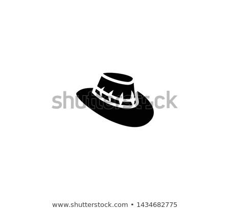 şapka kahverengi beyaz renk batı Stok fotoğraf © Quasarphoto