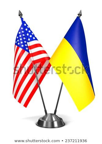 米国 ウクライナ ミニチュア フラグ 孤立した 白 ストックフォト © tashatuvango