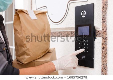 kahverengi · lateks · güzel · kadın · elbise · kız - stok fotoğraf © disorderly