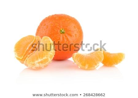 Studio shot dewy peeled mandarines isolated on white Stock photo © dla4