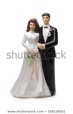 Paar bruidstaart geïsoleerd witte bruiloft partij Stockfoto © cypher0x