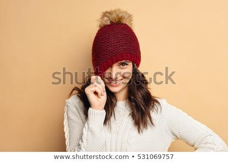 Utangaç kadın şapka güzel genç sarışın kadın Stok fotoğraf © Kakigori