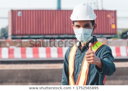 Sonriendo trabajador de la construcción cocina casa hombre Foto stock © wavebreak_media