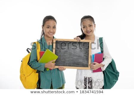 iki · kızlar · poz · boş · tahta · güzel - stok fotoğraf © NeonShot