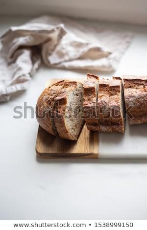 Ev yapımı ekmek kepek ahşap masa stil rustik Stok fotoğraf © zoryanchik